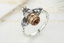 Honey Bee Ring - Authentic .925 Sterling Silver and Amber CZ Bee Ring - SIZE 6