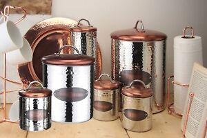 Kitchen Canisters Coffee Tea Sugar Biscuits Bread Copper Round Lid Storage Jars