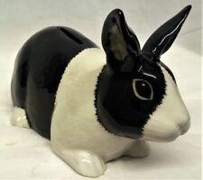 More details for quail black & white dutch rabbit moneybox money box or piggy savings bank