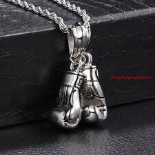 Hot Stainless Steel Biker Boxing gloves design Men's Pendant Necklace Rope Chain