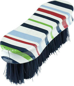 HORZE HAPPY HORSE PLASTIC HANDLE FACE, BOOT, or UTILITY BRUSH DARK BLUE RED