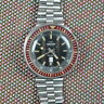 TECHNOS SKYBIRD VINTAGE DIVER CRANBERRY ACRYLIC DAY DATE 1970s AUTOMATIC RARE