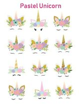 1x Unicorn Pastel Temporary TATTOO Sheet. Lolly Loot Bag Party Supplies Cake
