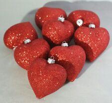 "Red Heart Ornament Set 3""  8 Valentines Day Love Sweetheart Glitter Decor"