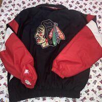 Chicago Blackhawks Starter Pull Over Hoodie Jacket XL Nylon Vintage