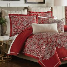 New Croscill Adriel Red Embroidered 4 Piece Queen Comforter Set