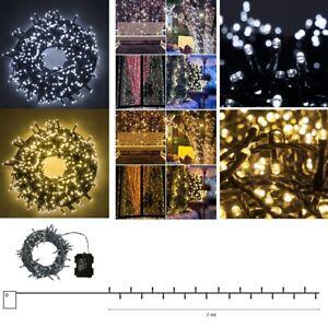 Catena luminosa Luci esterno a batteria da 100 led 7 mt per decorazioni Natale