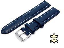Uhrenarmband Echt Leder 20 mm Blau Herren Uhrband WEISSE ZIERNAHT NEU