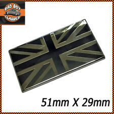Stylish Black / Chrome Union Jack Enamel Badge Emblem CLASSIC CAR