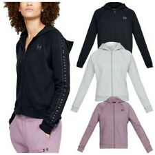 Under Armour Ladies Rival Fleece Full Zip Hoodie Soft UA Gym Training Yoga Top