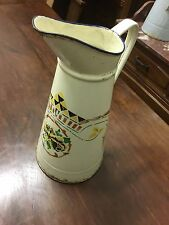 French Vintage Enamel Jug with Flowers and Abstract Design