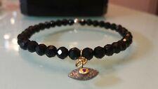 Natural Pave Diamond Evil Eye ruby charm stretch black spinel bracelet