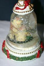 "9"" tall Christmas bell shaped snow globe Santa"