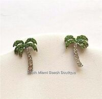 Silver Crystal Palm Tree Post Earrings Tropical Island Green Plated Pierced