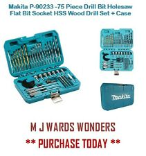Makita 75 Piece Drill Bit Holesaw Flat Bit Socket HSS Wood Drill Set + Case