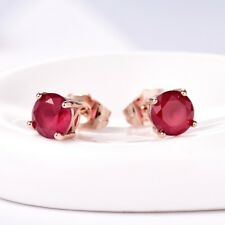 Brilliant Lady Red Ruby Crystal Rose Gold Small Stud Earrings July Birthstone