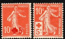 France 1914 Red Cross brick-red 10c + 5c red 10c + 5c mint SG351/352