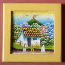 Tableau peinture signée ART NAIF du Nicaragua 15 cm x 15 cm encadré parfait état
