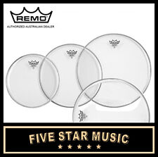 """REMO EMPEROR CLEAR 4 PCE DRUM SKIN FUSION TOM SET 10"""" 12"""" 14"""" 16"""" HEADS - NEW"""