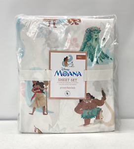 NEW Pottery Barn KIDS Organic Disney Princess Moana FULL Sheet Set w/Pillowcases