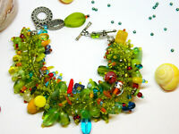 Wow! Intricate Seed Bead Bracelet Silver Tone Upcycled Fabulous Design and Beads