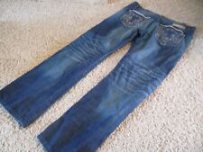 MEK USA DNM Button Fly Distressed Sparta Straight Jeans Men's Size 38 x 34