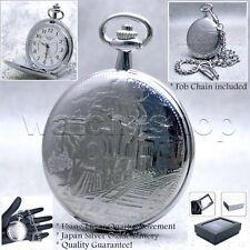 Silver Antique Men Train Locomotive Large Pocket Watch Fob Chain Gift Box P09
