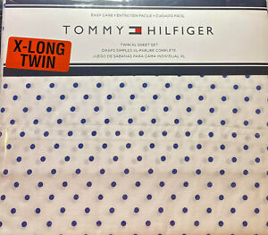 Tommy HIlfiger 3 Pc.Twin Size Extra Long Sheet Set  Polka Dots Blue Easy Care