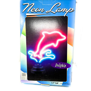 Decorative Dolphin Theme Neon Lamp w/ DC Adapter 700396 - Pink Blue - 15 in Tall