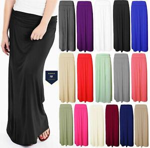 Women Ladies Pleated Fold Over Waist Jersey Maxi Long Length Viscose Gypsy Skirt