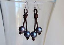 Pearls on Leather Dangling Long Earrings Freshwater Pearls Yevga 2'' long