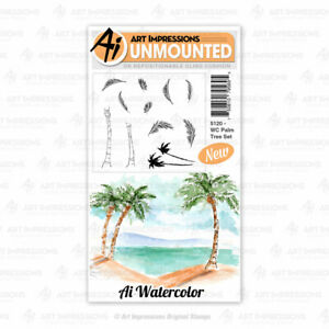 Watercolor Palm Tree Set Cling Rubber Stamp Set Art Impressions 5120 New