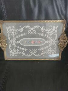 Gorgeous  Petit Point Filigree Ormolu Vanity Dressing Table Tray