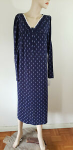 NWT S Small Croft & Barrow Cotton Blend Knit L/S Nightgown Navy Floral