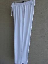 Woman Within Cotton Blend Jersey Sport Elastic Waist Pants 1X 22-24W White