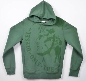 Diesel Men's Indian Head Graphic Logo Green Pullover Hoodie Sweatshirt