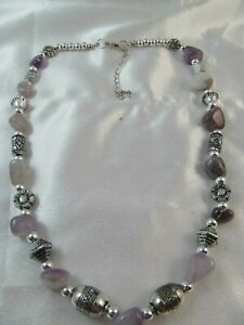 SILVER & AMETHYST BEADED NECKLACE, SOUTHWESTERN DESIGN, Purple, Lavender