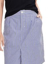 Banana Republic Lined Stripe-Shirt Tail Pencil Skirt-Front Pleat-Pockets-6-NWOT