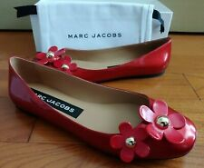 Marc Jacobs Daisy Flower Studded Ballerina Flat in Red Patent Leather Eur37 US 7