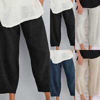 Women Wide Leg Cropped Harem Pants Summer Casual Casual Trousers Plus Size l