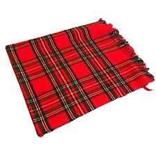 Vintage Highland Home Industries Scotland Wool Blanket Red Green Plaid Fringe