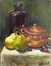 Original Art Oil Painting Still Life Pears Grapes 11x14 Sallows Alla Prima