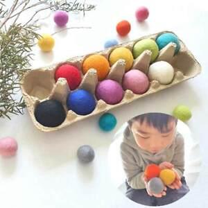 4cm Felt Balls Montessori Sensory Play Counting Toy Wool Educational RAINBOW