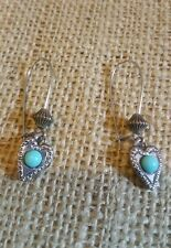 Vintage Dangle Earrings Silvertone Turquoise Southwest Earrings Heart EUC