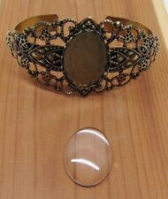 FILIGREE BRACELET CUFF Antique Brass Finish w/ 25x18mm Clear Glass Oval Cabochon