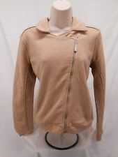 Orvis Womens Cotton Poly Casual Zip Up Sweater Jacket Small S Beige Brown