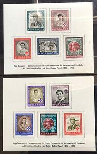 1957 Nicaragua Baden Powell/ Scouting  2 Souvenir Minisheets MUH FOG