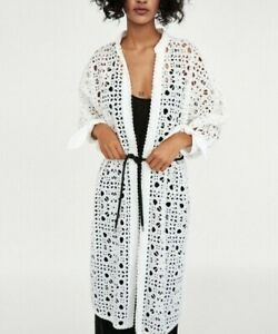 ZARA Woman NWT Embroidered Perforations Kimono Jacket Top Size Medium / Large