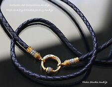 BLACK LEATHER ORTHODOX JEWELRY CORD.925 STERLING SILVER +.999GOLD.50cm, 19.7""