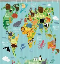 Cartoon World Map Animals Fabric SHOWER CURTAIN Kids Decor Wildlife Continents